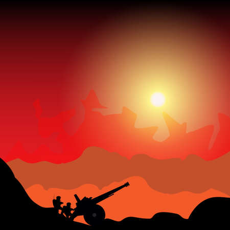 Silhouette cannon and soldiers against background of the battle