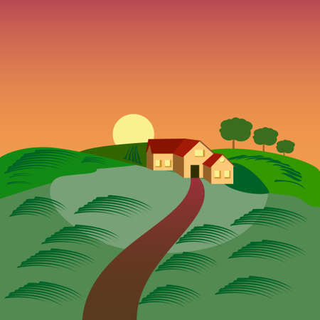 rolling landscape: Farm with the house, barn and green seeding field, landscape at sunset.