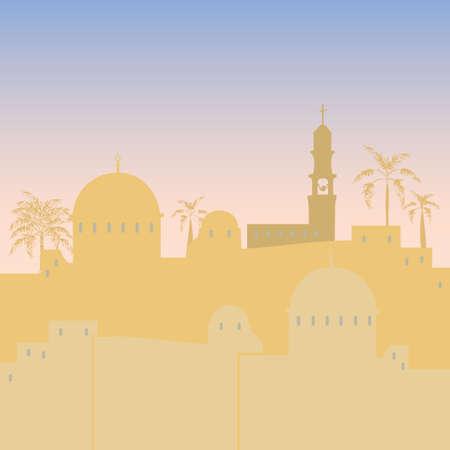 design piatto illustrazione Jerusalem Israele skyline silhouette Vettoriali