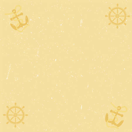 helm: Old yellow paper background with scratches, anchor and helm.