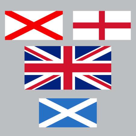 briton: United Kingdom collection of flags. England, Northern Ireland, Scotland.