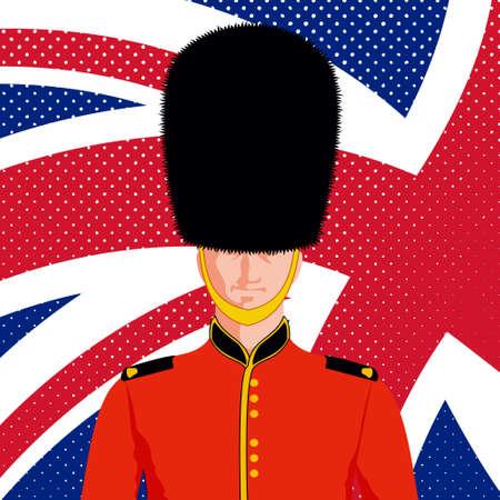 bearskin hat: Royal British guard. Man in traditional uniform and flag United Kingdom.