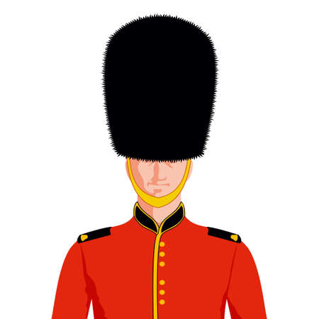 bearskin hat: Royal British guard. Man in traditional uniform, British soldier, isolated on white Background