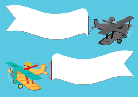 vintage plane: Flying vintage plane with the banner. Template for a text