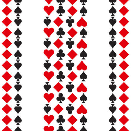 Pattern with playing cards symbols, seamless background Illustration