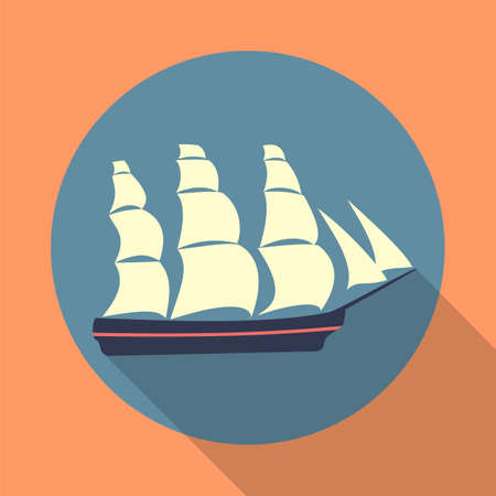 brigantine: Ship icon in a flat design with shadow