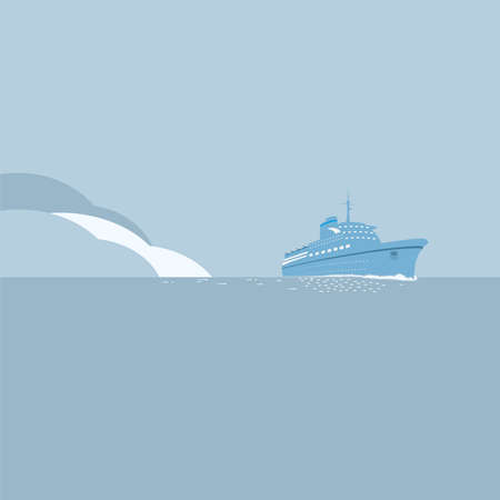 caribbean cruise: Cruise ship and blue ocean, travel background