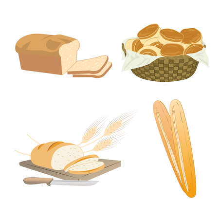 Set of cartoon food, bread - wheat, whole grain, buns in basket, sliced, french baguette, illustration, isolated on white. Illustration