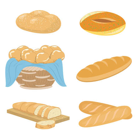 Illustration of a set of various bread, bakery and pastry food icons products.