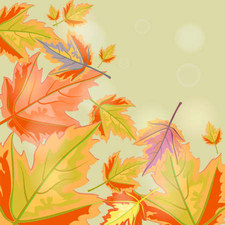 Autumn background with leaves. Illustration