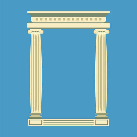 ionic: Antique marble temple front with ionic columns, illustration