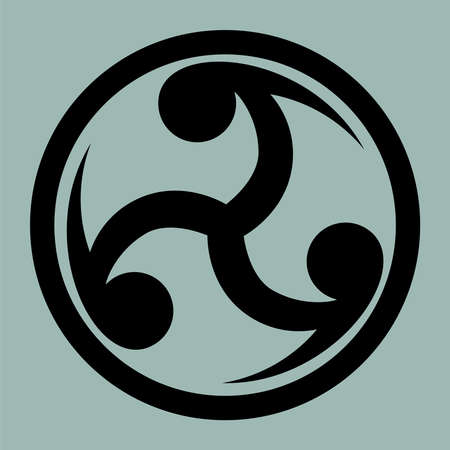 triquetra: Mitsu Tomoe - Japanese symbol as a visual representation of the cycle of life. Creative symbol for  tattoo template.