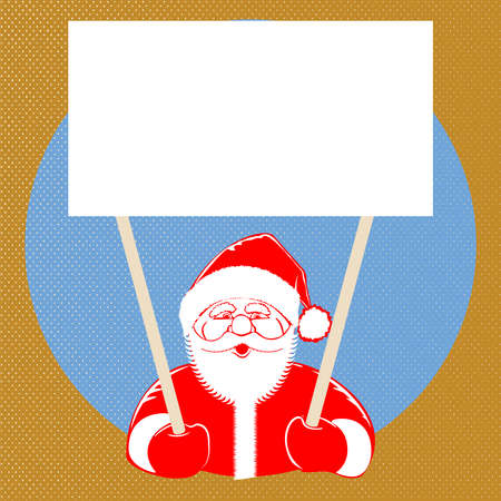 illustration Santa Claus comic style design with jolly plump in red cap on dotted background, holding blank isolated for text for your creativity. Retro style pop art