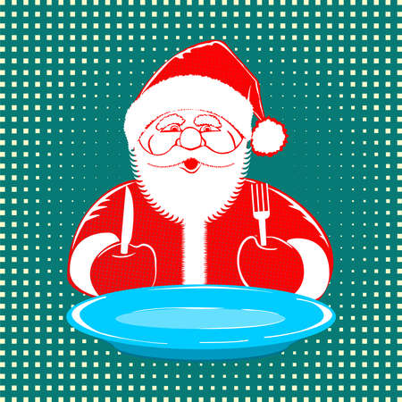 illustration Santa Claus comic style design with blue plate, fork and knife on dotted background. Retro style pop art