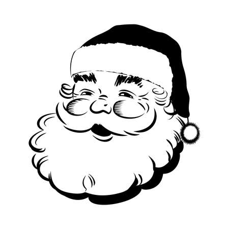 Santa Claus smiling. Classic cartoon Head. Retro Clip Art