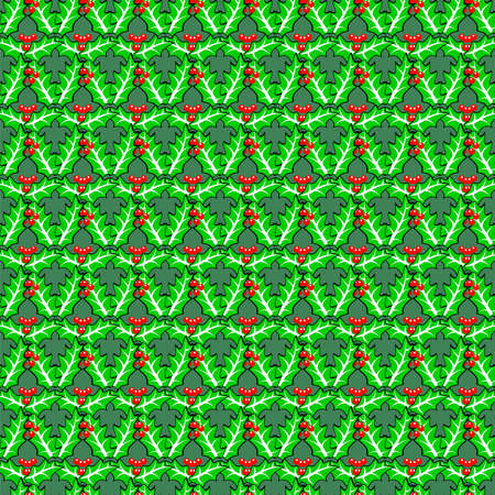 boundless: Seamless holly berries pattern. traditional Christmas decoration plants on boundless background.
