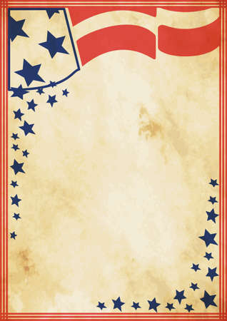tricolors: Grunge US vintage poster. US background for your advertising
