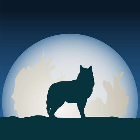 Detailed illustration silhouette wolf in front of the moon.