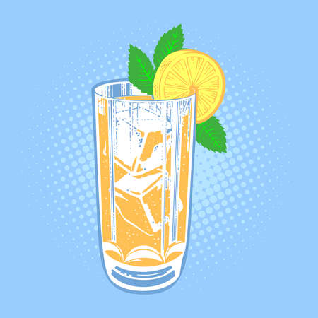 cool mint: Drink with lime, mint and ice. Cool mint leaf refreshing summer ingredient lime drink. Vector fresh lime drink cold ice cocktail tropical fresh citrus water. Alcohol sweet slice food lemonade.