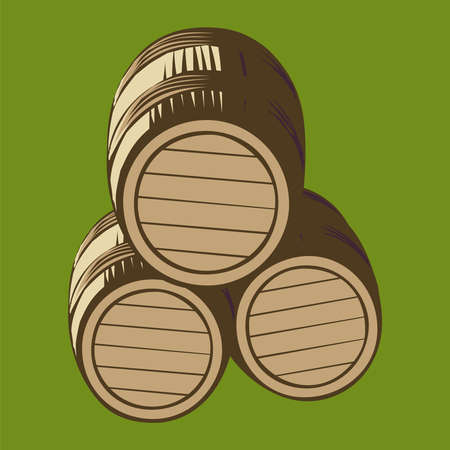 Three wooden wine barrels lying on one side, isolated