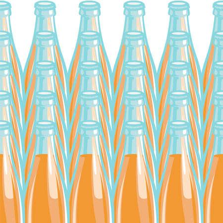 Pattern lemonade bottle. Vector illustration, isolated on white background.