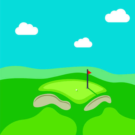 sand trap: Golf hole vector green tee background illustration