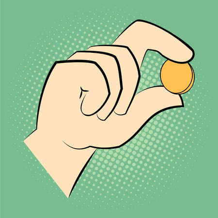 Hand holding a coin between two fingers. Pop art retro style