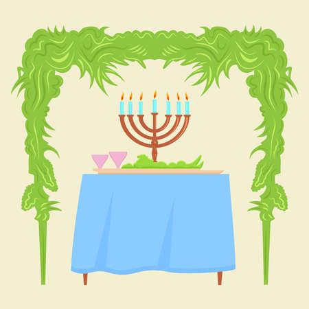 hadas: Sukkot Festival greeting card design vector template. Traditional Jewish Sukkot holiday decoration - the holiday hut. Stock Photo