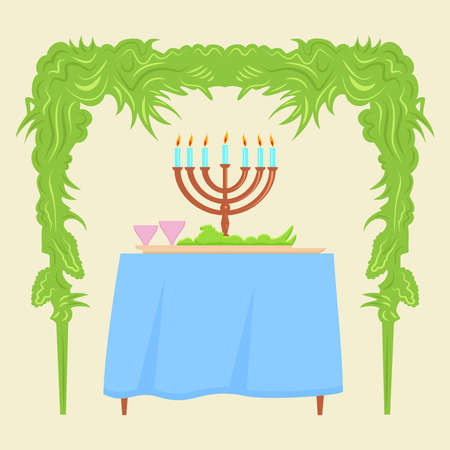 hadas: Sukkot Festival greeting card design vector template. Traditional Jewish Sukkot holiday decoration - the holiday hut. Illustration