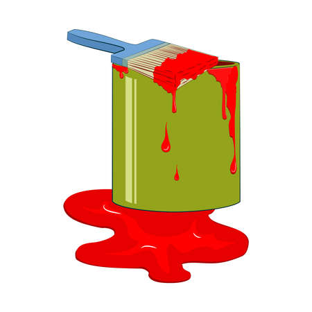 paint container: Bucket red paint with dripping paintbrush. Vector illustration, isolated from background. Illustration