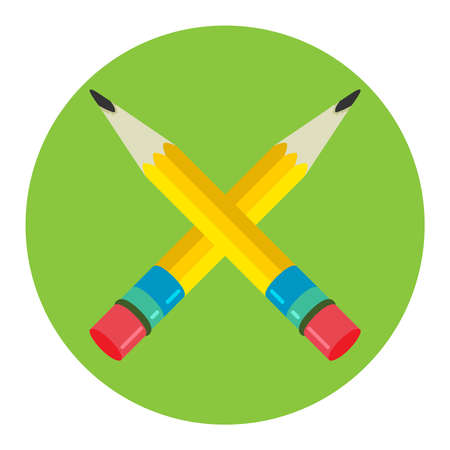 Two pencil Icon flat vector logo, symbol. For mobile user interface. Vector illustration, isolated from background.