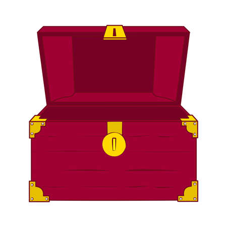 Illustration of open wooden treasure chest with nothing in it. Vector illustration.