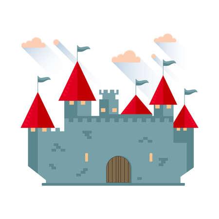 Cartoon fairy tale castle tower icon. Vector illustration