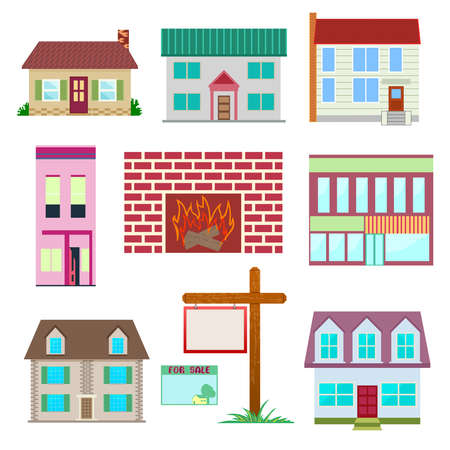 architecture bungalow: House set , colourful home icon collection. Private residential architecture, house being sale or rent.