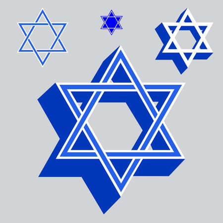 Star Of David Jewish Religious Symbols Vector Illustration