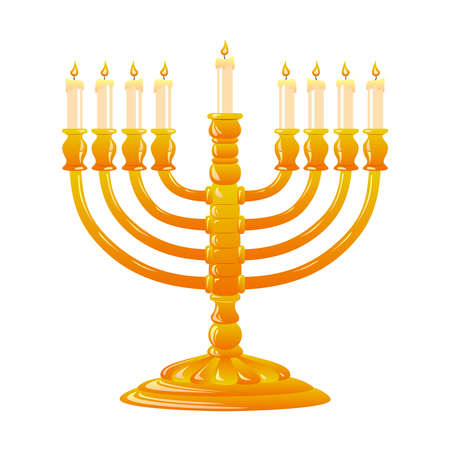 For Happy Hanukkah, jewish holiday. Golden menorah with burning candles on white background. Vector illustration. Illustration