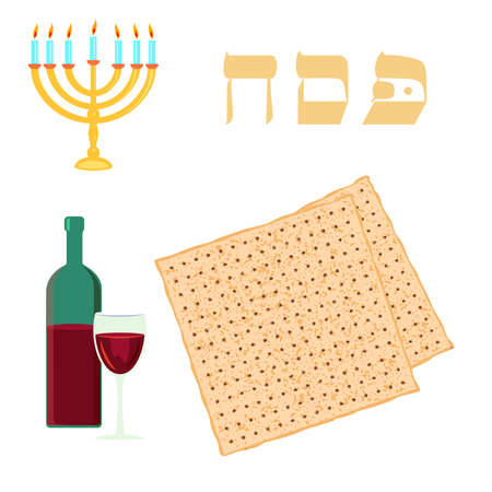 Passover traditional matzoh, menorah and wine in white background.