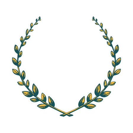 triumphant: Victory laurel wreath. Illustration