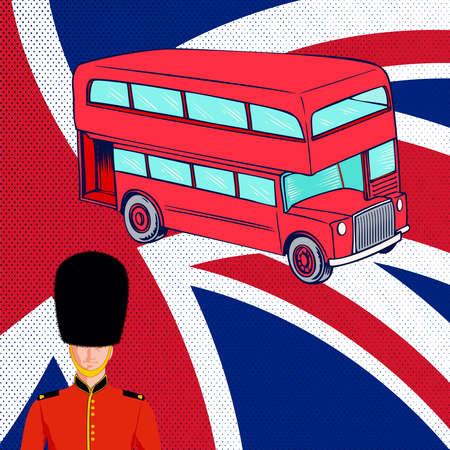 bearskin hat: British red bus, Royal guard, flag UK.