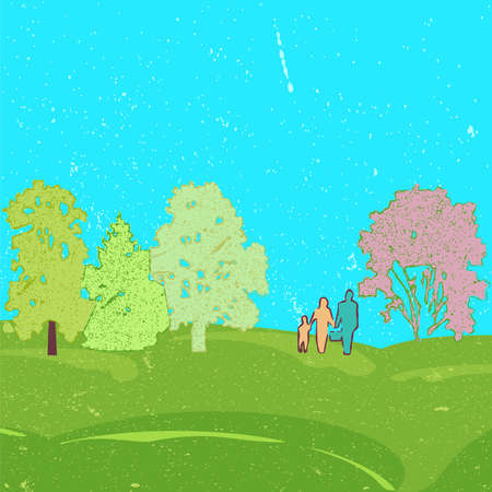 Concept of the family with little baby walk on summer field nature Ilustração
