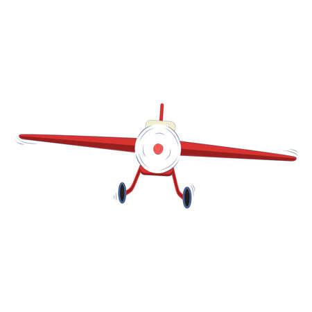 航空ショー: 単発は、白い背景、ベクター グラフィックの軽飛行機を推進  イラスト・ベクター素材