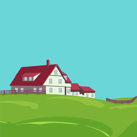 Rural landscape with a flat style house in spring or summer season.