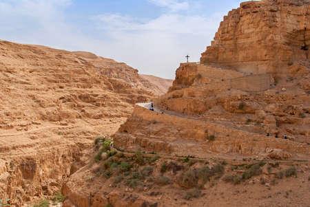 st: Wadi Qelt in Judean desert around St. George Orthodox Monastery