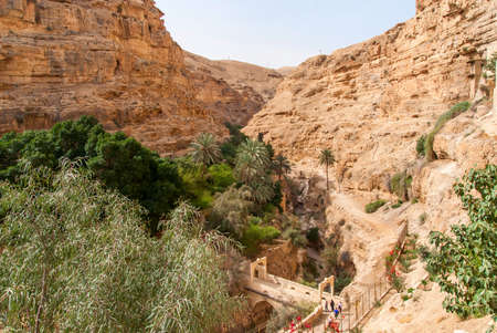 steep: St. George Orthodox Monastery is located in Wadi Qelt. The sixth-century cliff-hanging complex, with its ancient chapel and gardens, is still inhabited. Stock Photo