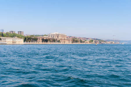 Dolmabahce Palace view from Bosphorus strait in Istanbul Turkey