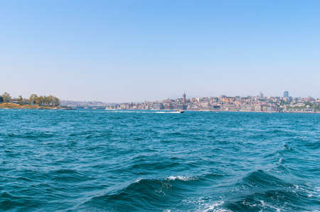 View from the water on the historical center of Istanbul.