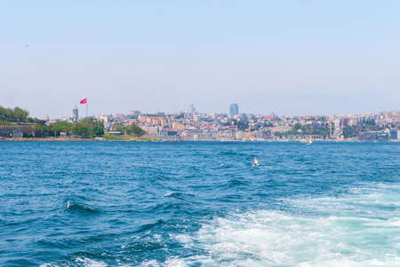 Passenger ferry ship carries people across the Bosphorus Istanbul Stock Photo