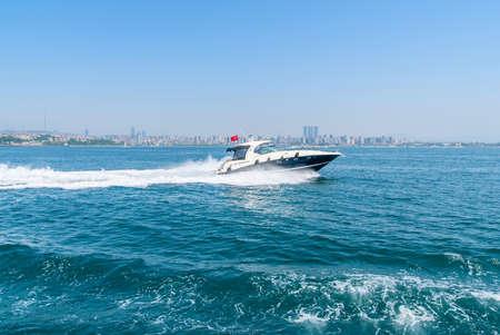 Tourist passenger motor boat on the Bosphorus strait, Stock Photo