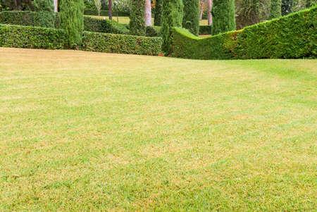 Lloret de Mar, Beautiful landscape with exactly trimmed grass and decorative bushes. Costa Brava, Spain.