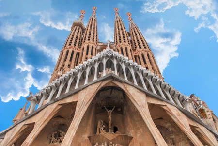 BARCELONA, SPAIN - OCTOBER 08, 2018: Sagrada Familia, detail of the facade. The cathedral designed by Antoni Gaudi is being built since 1882 and is not finished yet. UNESCO World Heritage Site